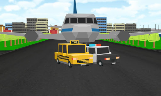 Blocky City Roads Taxi Airport