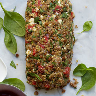 Lentil, Roasted Pepper, and Spinach Vegetable Loaf