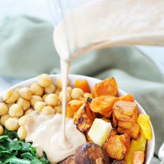 Root Vegetable Power Bowl with Roasted Garlic Tahini Dressing.