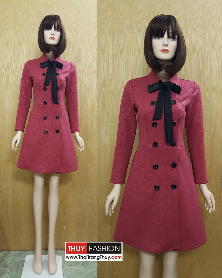 Áo khoác váy xòe cổ ve với hai hàng cúc vải dạ V495 tại Hải Phòng