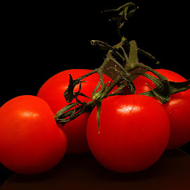 Ripe Tomatoes by Chrissie Barrow - Food & Drink Fruits & Vegetables ( red, black background, fruit, still life, tomato,  )
