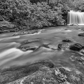 27' Falls by Jason Lemley - Black & White Landscapes ( stream, waterscape, waterfall, black & white, lowangle, blur )