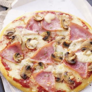 Sliced Ham and Mushroom Pizza