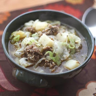 Cabbage, Potato and Sausage Soup.