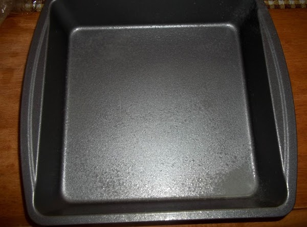 Preheat oven to 350 degree F.  Grease an 8 inch baking pan. I used cooking...