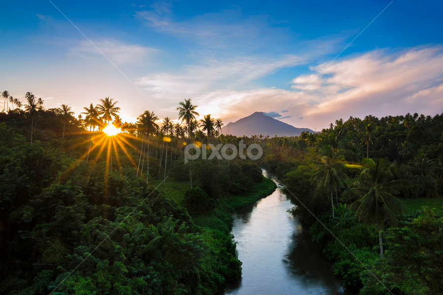 The mountain, the sun, and the river by Robertho Ponomban - Landscapes Travel ( mount, sunrise, landscape, golden, river )