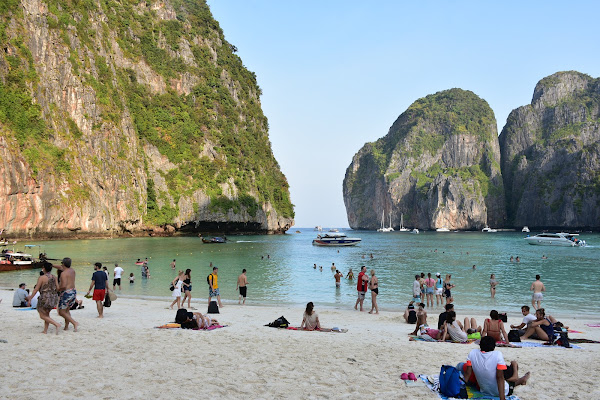 Early morning stop at 'The Beach' of Maya Bay