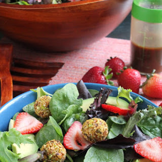 STRAWBERRY AVOCADO SALAD WITH PISTACHIO-CRUSTED GOAT CHEESE