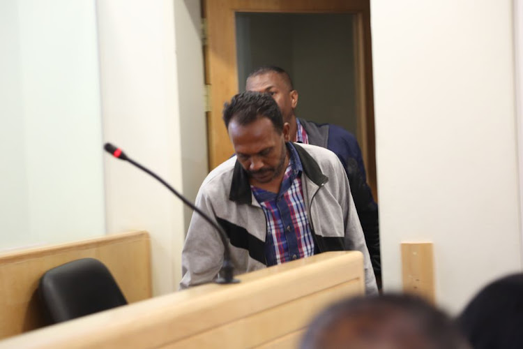 Collin Pillay, accused of the triple murder in Phoenix, appears in the Verulam Magistrate's Court on October 3 2018.