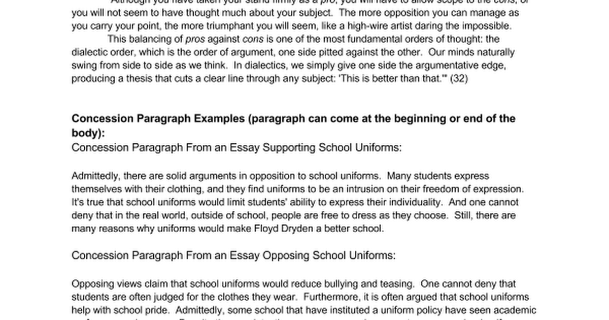 the concession paragraph google docs