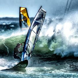 Windy by Deon Warrington - Sports & Fitness Surfing ( surf, waves, windsurfer, ocean, spray, cold, sea, wind )