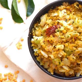 Cabbage paruppu usli / Cabbage stir fry with lentils (Instant pot recipe).