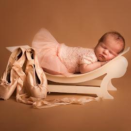 Baby Ballerina by Nicole Ferris - Babies & Children Babies ( girl, bench, tutu, baby girl, sleeping, baby, ballet, newborn )