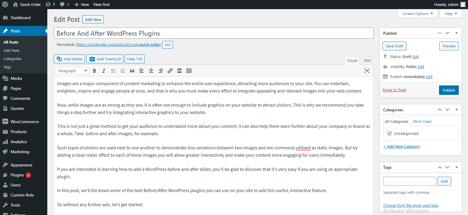 Before and After WordPress plugin setup