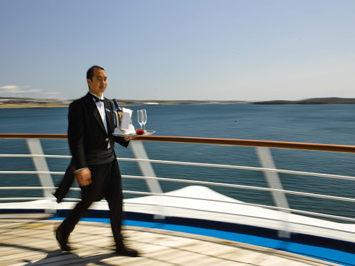 Butler service on deck during a Silversea sailing.