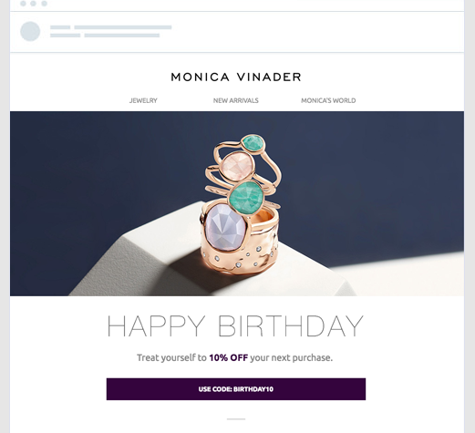 birthday email newsletter example