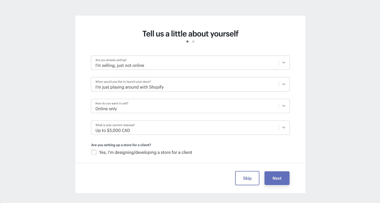 Shopify's account setup