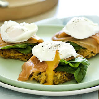 Potato Latkes with Smoked Salmon, Spinach and Poached Eggs.