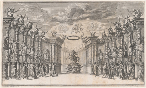 The Triumph of Austria; Leopold I at center, mounted on a reared horse, atop a military trophy; surrounded by equestrian portraits of the Holy Roman Emperors; set design from 'Il Pomo D'Oro'