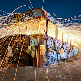 Fiery Coach by Givanni Mikel - Abstract Light Painting ( utah, bus, sparks, night, steel wool, fire, desert,  )