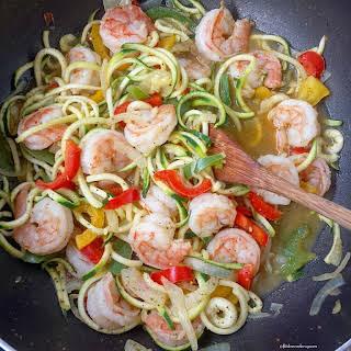 Low Carb Shrimp Stir-Fry with Zoodles.