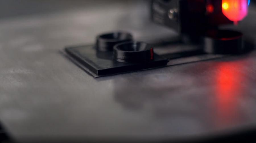 A Polypropylene 3D print adhering to the LayerLock Polypropylene Build Surface.