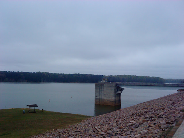 Mountains-to-Sea Trail 12-Mile Challenge post race - The Falls Lake dam