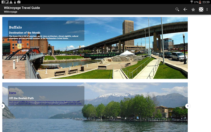 Screenshot 2 for Wikivoyage's Android app'
