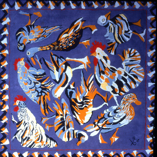 Hoffman tufted carpet depicting chickens & ducks Diana Springall