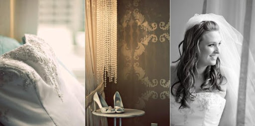 Triangle of Bridal Outfit ; Bridal Gown, Shoes and Bride ...