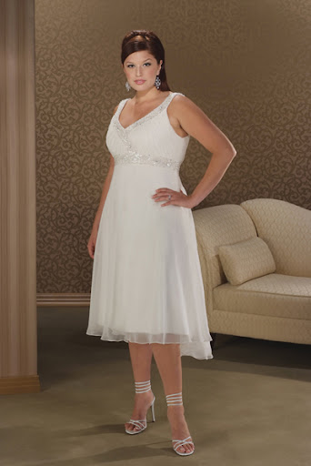 plus size wedding gown in tea length cut