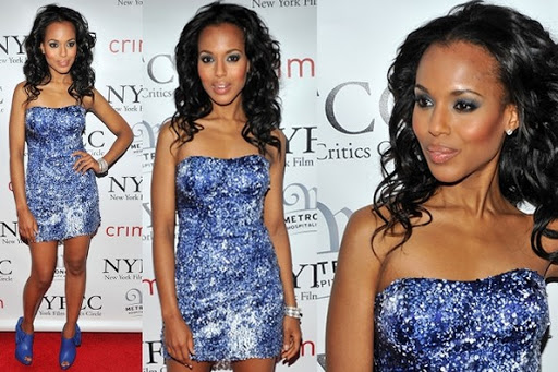 Cocktail Mini Dress - Kerry Washington, Electric Blue Sequined