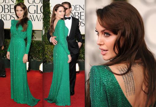 Angelina Jolie Golden Globe Dress ; Atelier Versace Green Sequined Backless