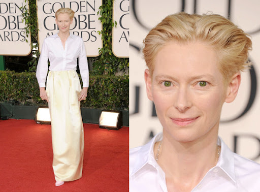Tilda Swinton Accessorized Her Golden Globes Ensemble with 100 Carats of Diamonds
