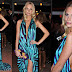 Louis Vuitton Blue Stripped Halter Evening Gown