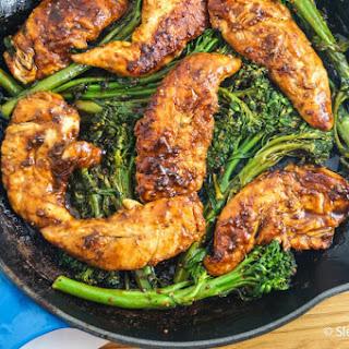 One Pan Honey Mustard Balsamic Chicken and Broccolini.