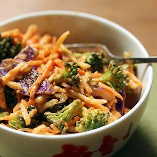 Broccoli slaw salad with peanut-mango-Sriracha dressing