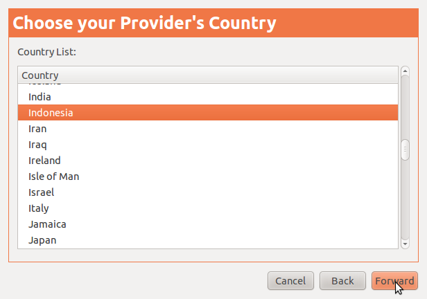Choose Provider's Country