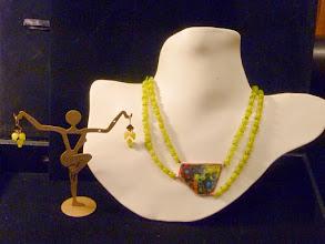 Photo: <BEREHYNYA> {Great Goddess Protectress} unique one-of-a-kind statement jewellery by Luba Bilash ART & ADORNMENT  SUMMER LIMES - copper enamel pendant, leopard-skin jade, peridot, rose gold vermeil SOLD/ПРОДАНИЙ
