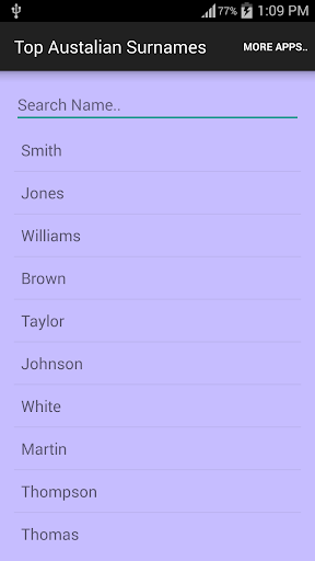 Top Australian Surname