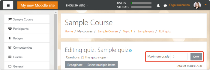 Editing a sample quiz in Moodle