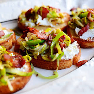 Bruschetta with Leeks, Goat Cheese, and Bacon.