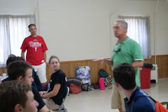 Photo: Joe, the consistory president, wishing them well on their work mission. Sorry that it is blurry.