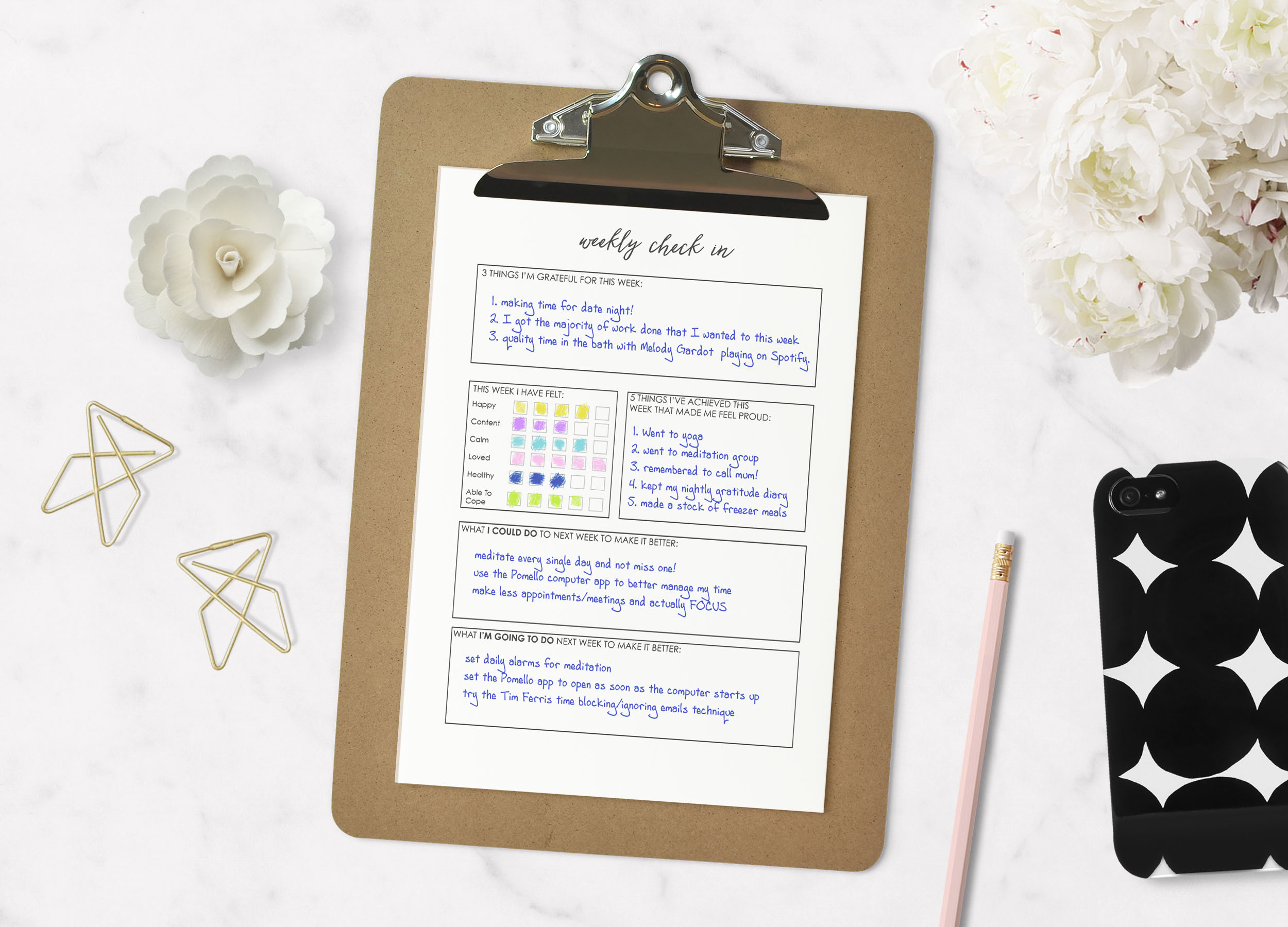 Weekly Check in - Creative hapy life planner