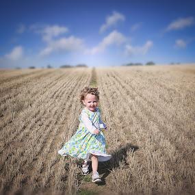 Harvest Time by Una Williams Photos - Babies & Children Children Candids ( field, child, sky, nature, corn )