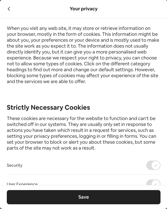 Cookie consent banner privacy settings