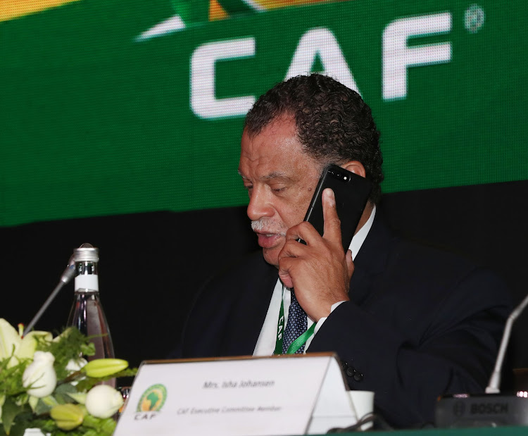 The South African FA (Safa) President Danny Jordaan speaking on his mobile phone during the 40th CAF Congress in Casablanca, Morocco on 01 February 2018. Jordaan is expected to be re-elected Safa president at an elective Congress to be held on March 24 2018 in Johannesburg.