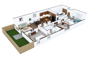 Go to Three Bed, Two Bath Townhouse with Garage Floorplan page.