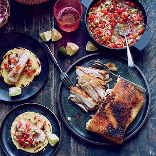 Crispy Pork Belly Tacos with Pico de Gallo.
