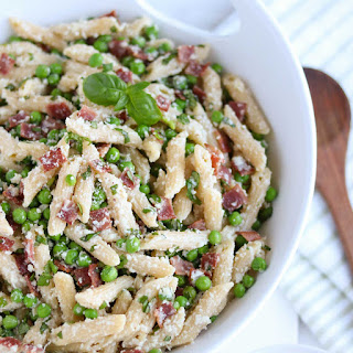Lightened-Up Pasta with Peas and Bacon.